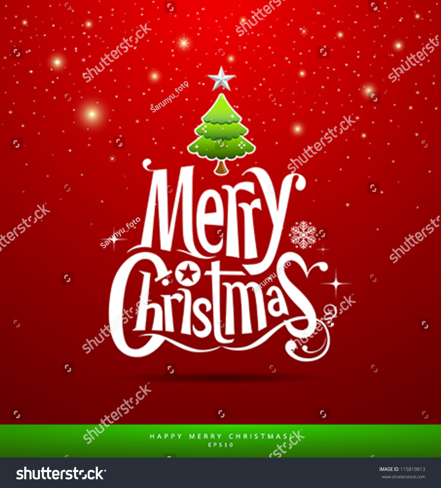 Christmas Greeting Card Merry Christmas Lettering Stock Vector ...