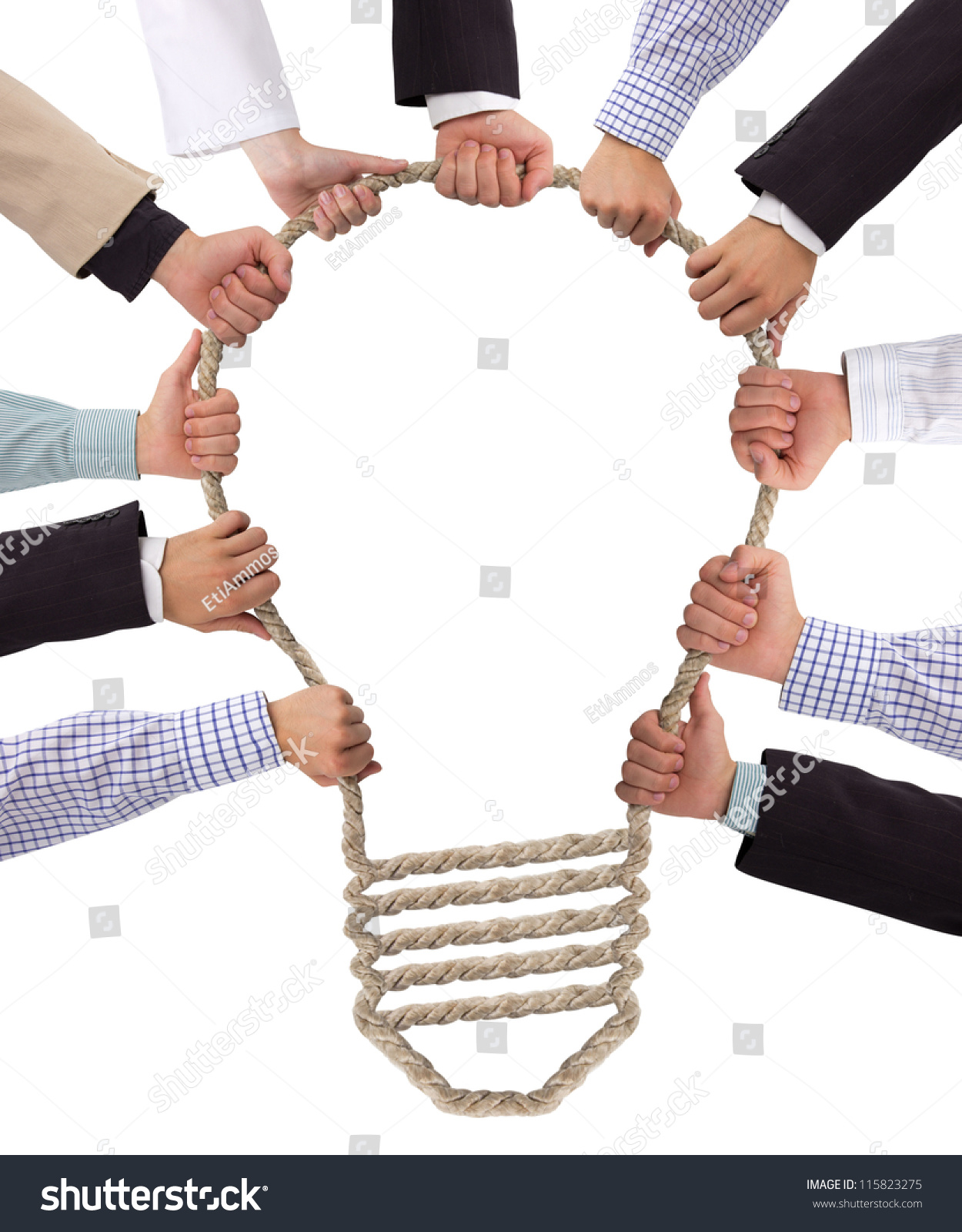 Technology Management Image: Business Hands Holding Rope Forming Bulb Stock Photo