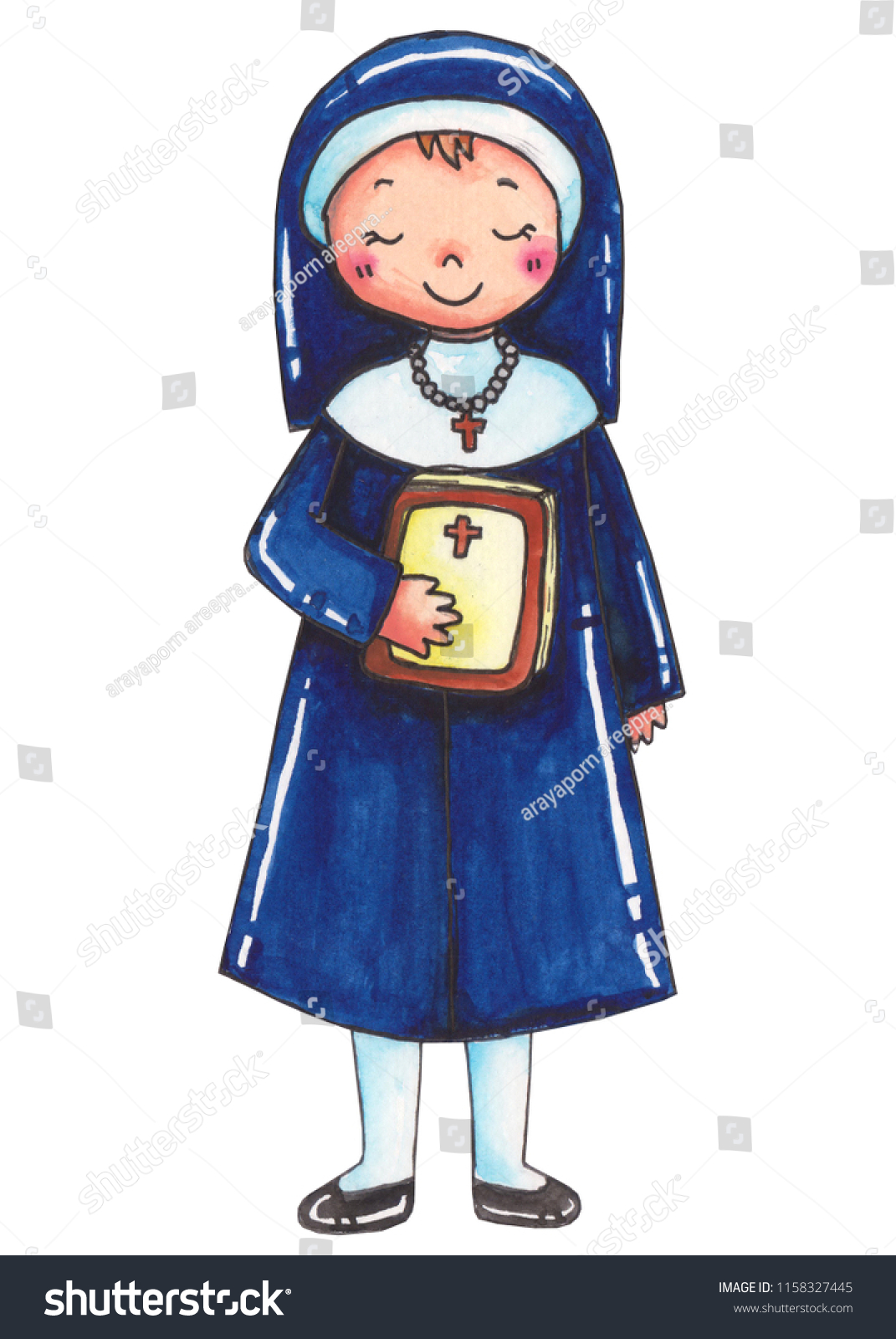 Nun Religion Career Clip Art Cartoon Stock Illustration 1158327445