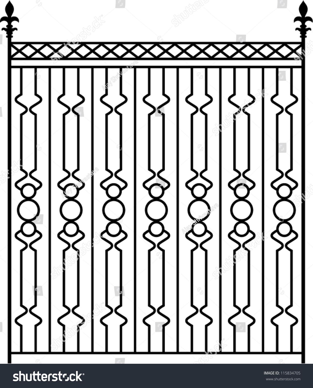 Wrought Iron Gate Door Fence Window Stock Vector 115834705