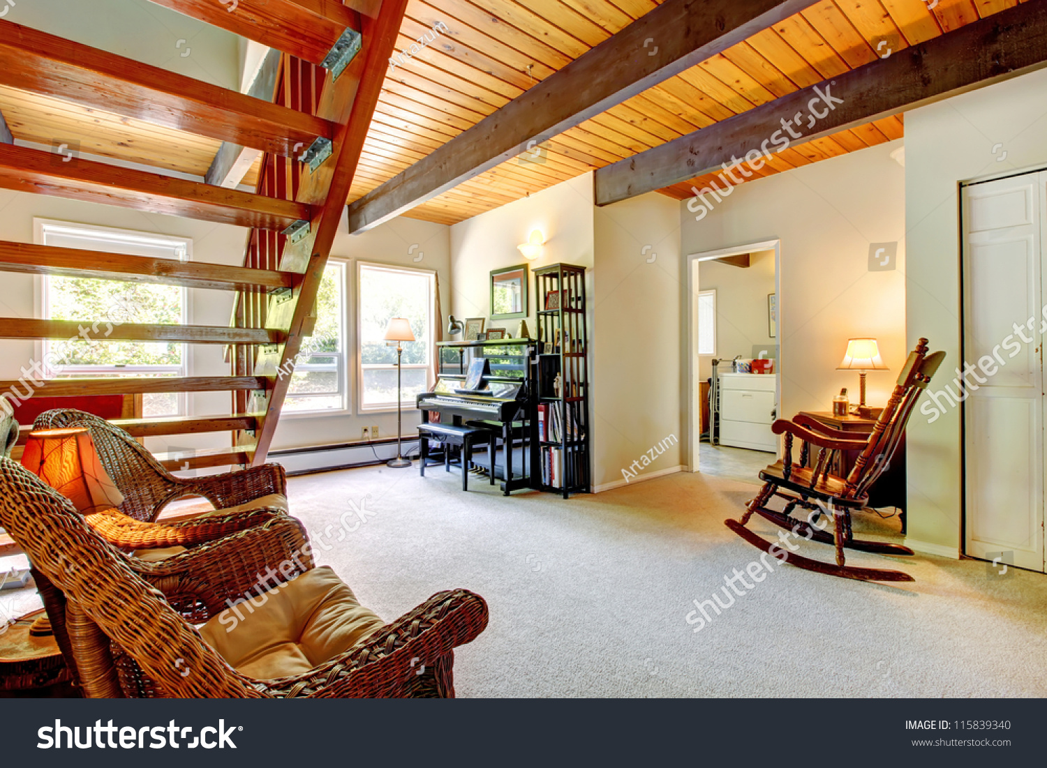 Bright bedroom red bed open balcony stock photo 115839340 for Open balcony