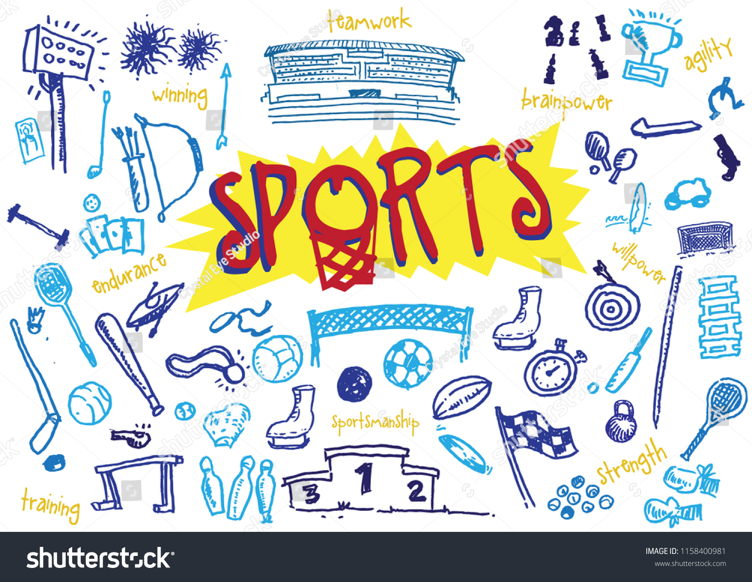 Sports Hand Illustrated Symbols Items Editable Stock Vector Royalty
