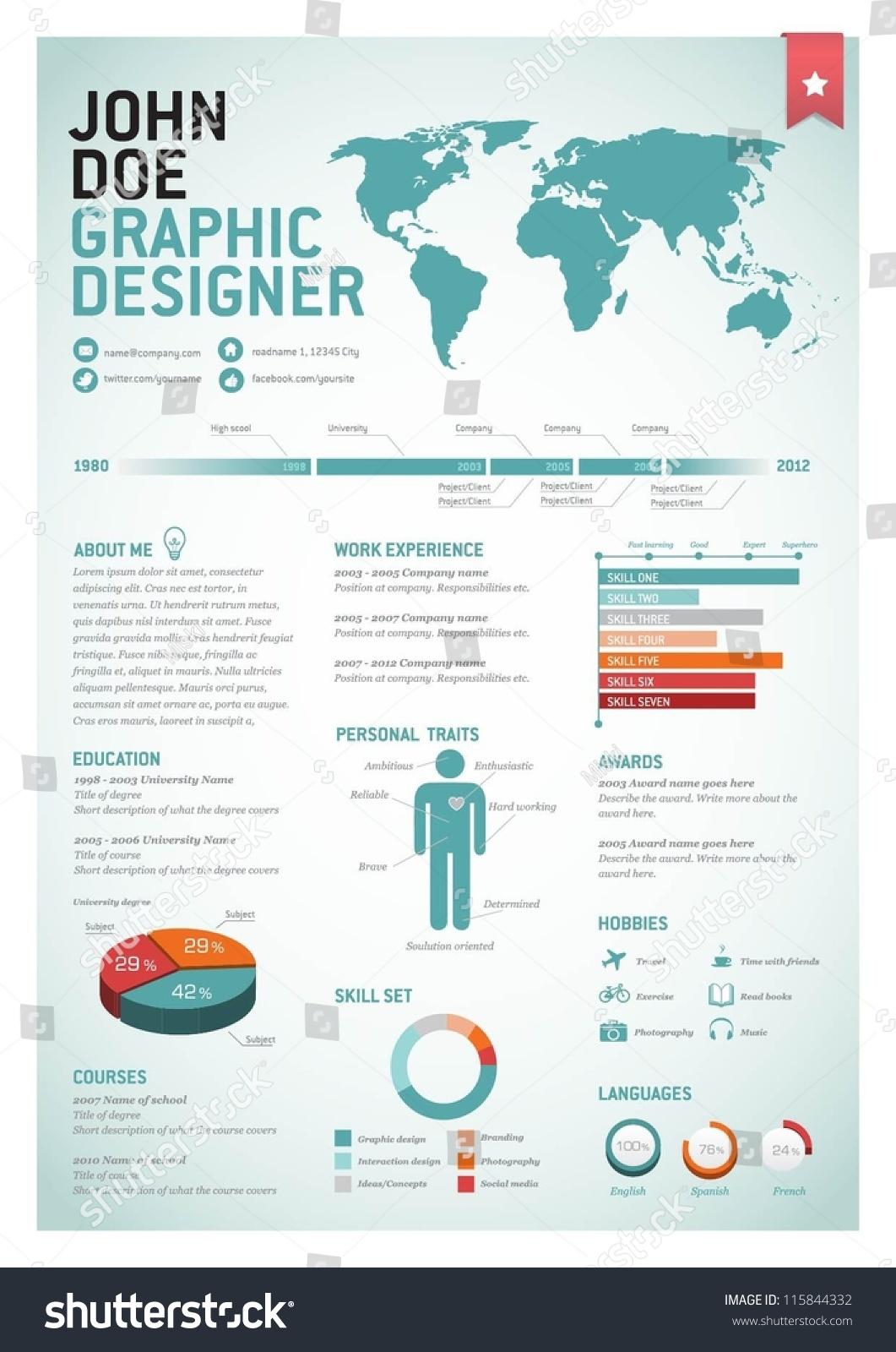 curriculum vitae for designers stock vector illustration