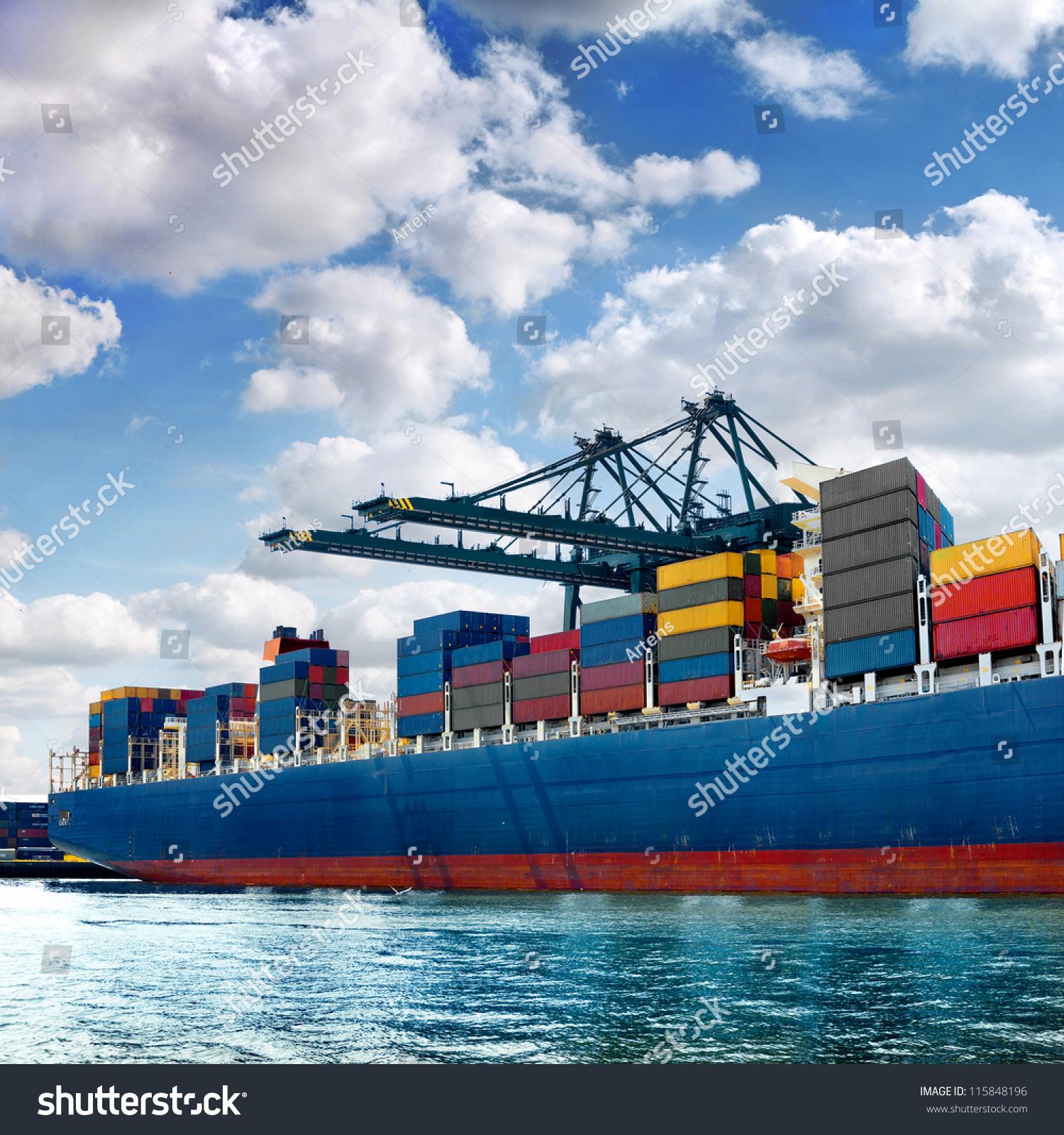 Cargo sea port sea cargo cranes stock photo 115848196 for Porte 7th sea