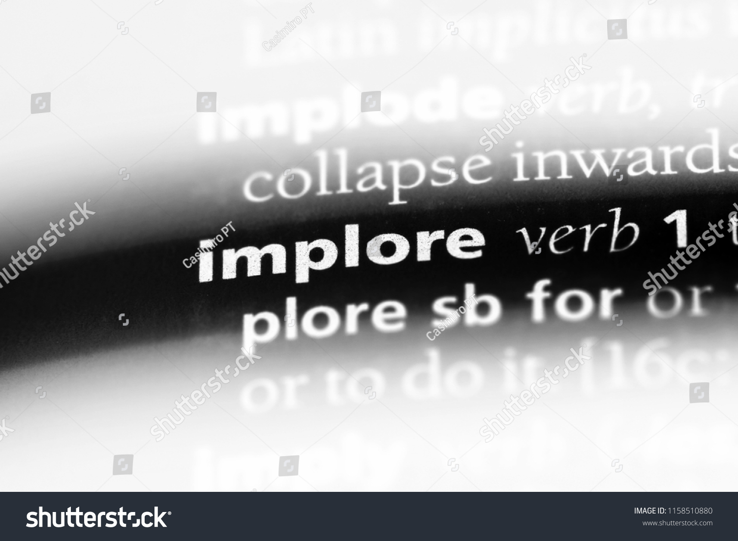 implore word dictionary implore concept stock photo (edit now