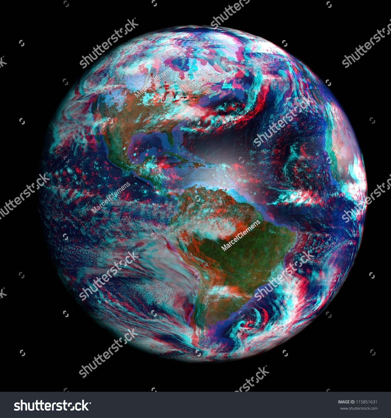 Earth space 3d showing north south stock photo 115851631 for Space in 3d