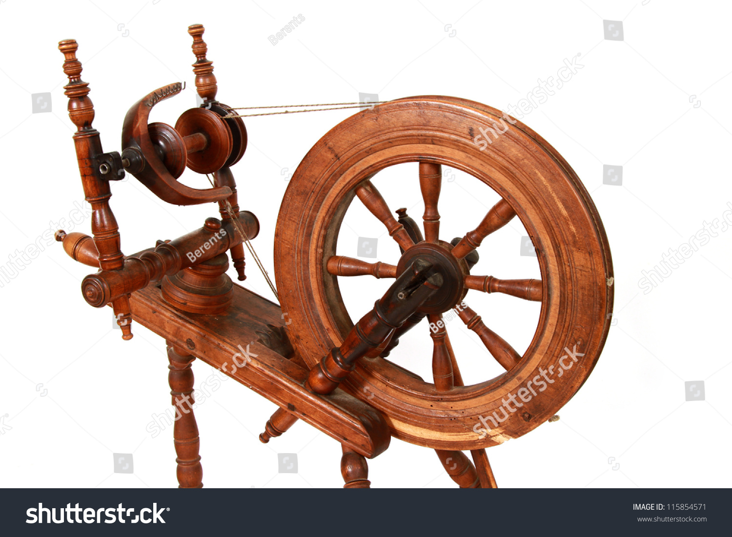 Old Spinning Wheel Isolated On White Stock Photo Edit Now 115854571