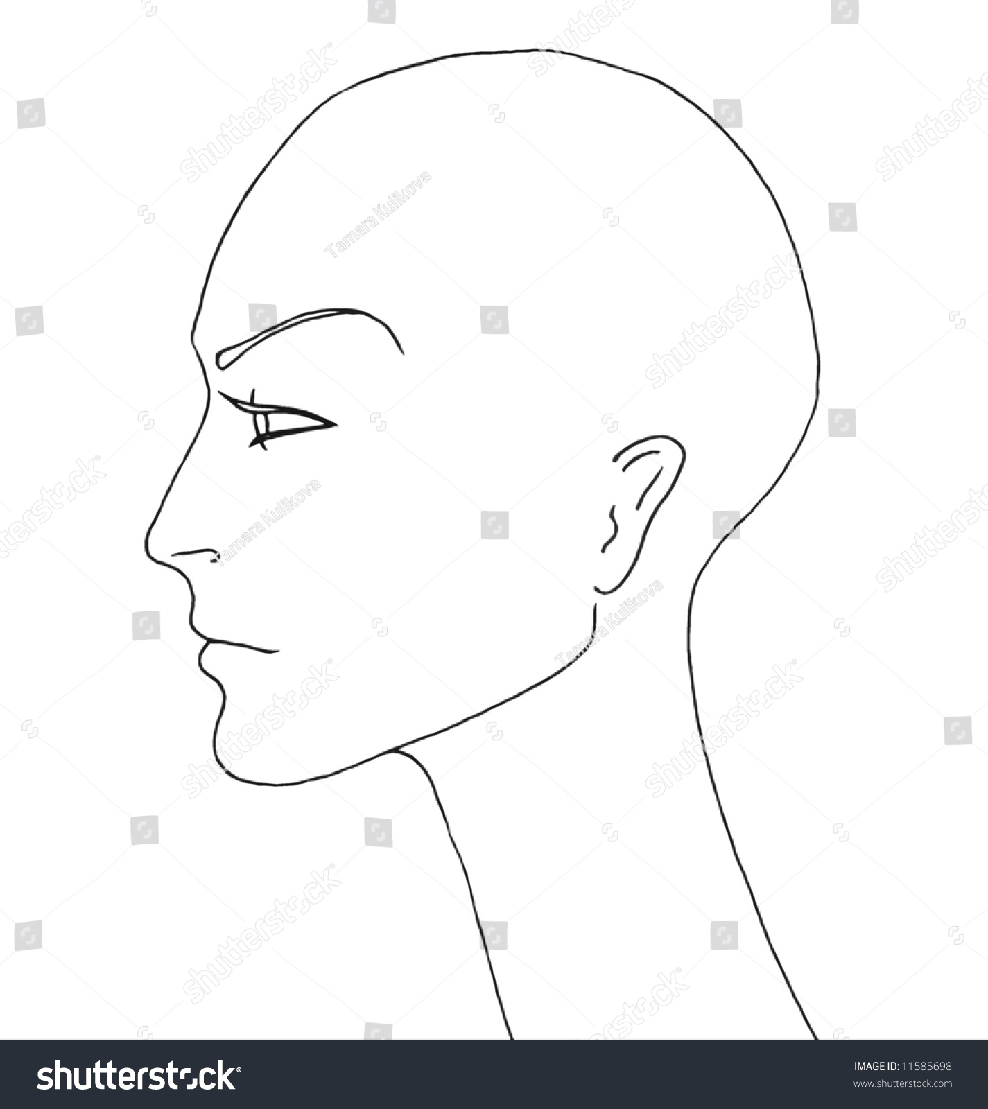Drawing With No Lines : Beautiful androgynous mannequin no hair line stock