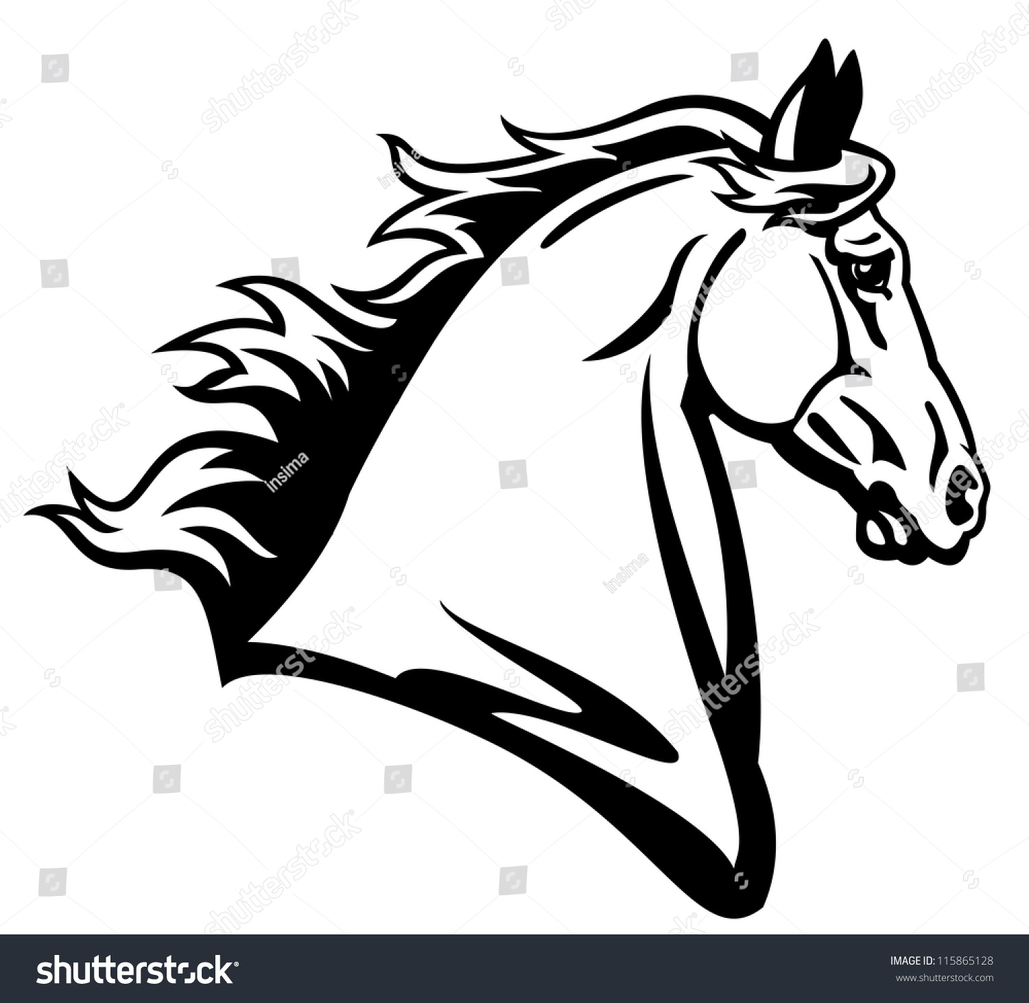 Horse Head Vectorblack White Picture Side Stock Vector ...