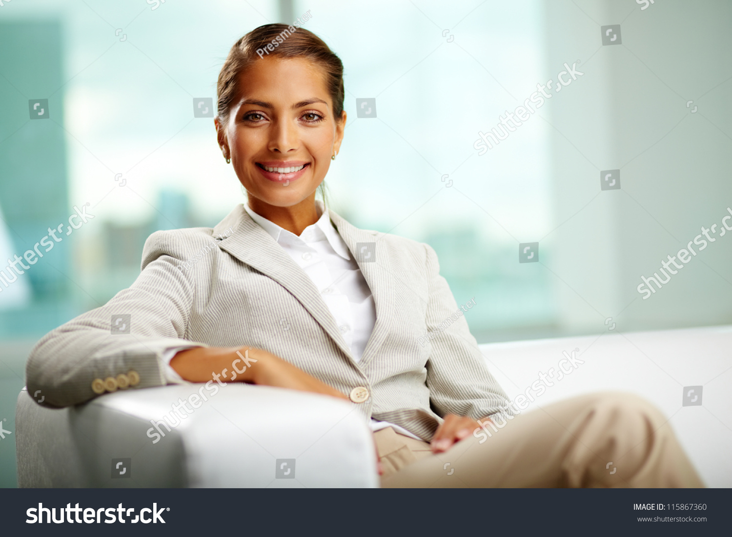 Portrait of successful female sitting in office stock photo 115867360 shutterstock - Office portrait photography ...