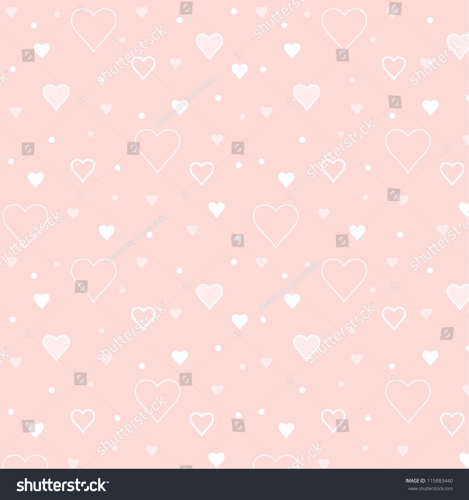 Vector Illustration Pattern Of Small Hearts On Light Pink ...