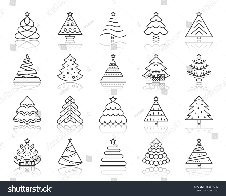 Christmas Tree Thin Line Icons Set Stock Vector Royalty Free