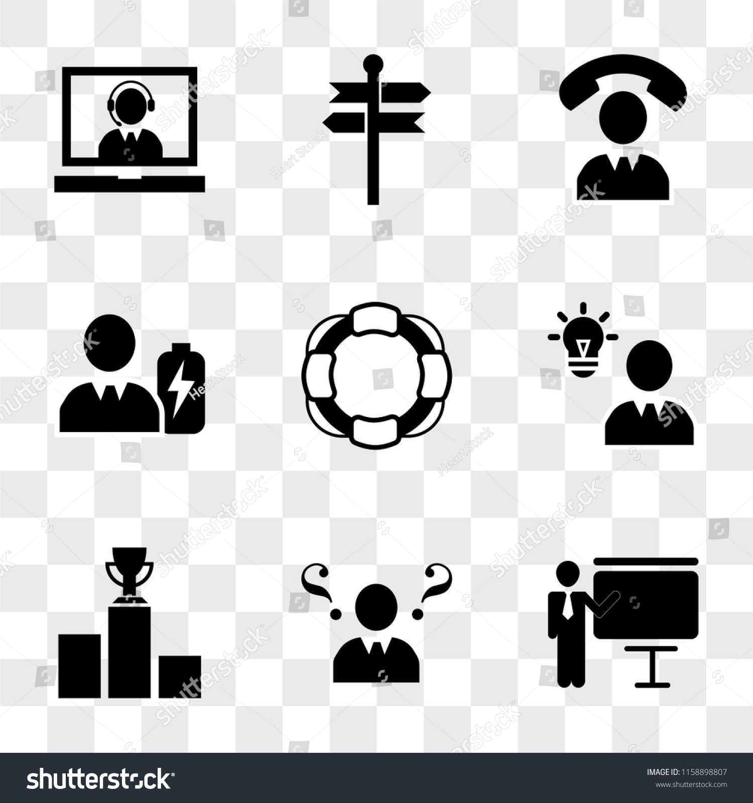 9 Simple Transparent Vector Icon Pack Stock Royalty Free Battery Cell Diagram Editable Powerpoint Template Set Of Icons Such As Businessman In A Presentation