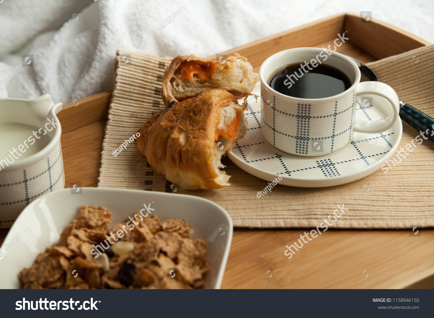 Healthy Breakfast Bed Coffee Croissant Cornflakes Stock Photo Edit Now 1158946150