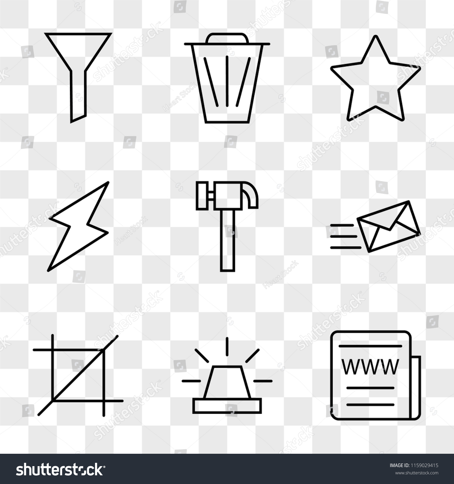 9 Simple Transparent Vector Icon Pack Stock Royalty Free Battery Cell Diagram Editable Powerpoint Template Set Of Icons Such As Web News Alarm