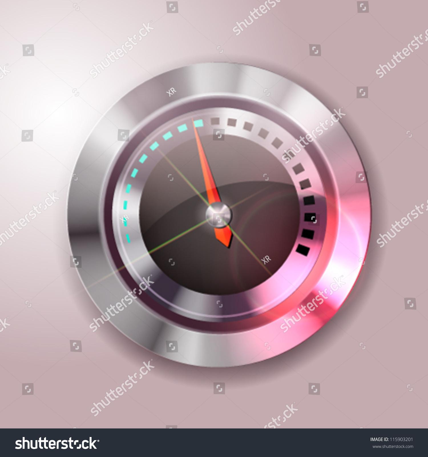 Futuristic Clock Retrofuturistic Analog Clock Design Useful Banners Stock Vector