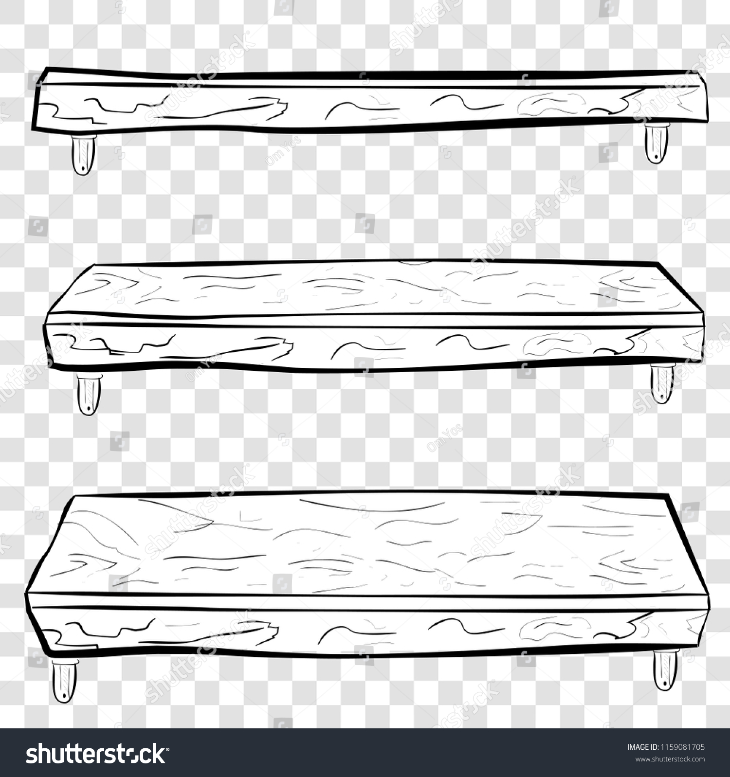Hand Draw Sketch Wooden Hanging Shelf Stock Vector Royalty Free