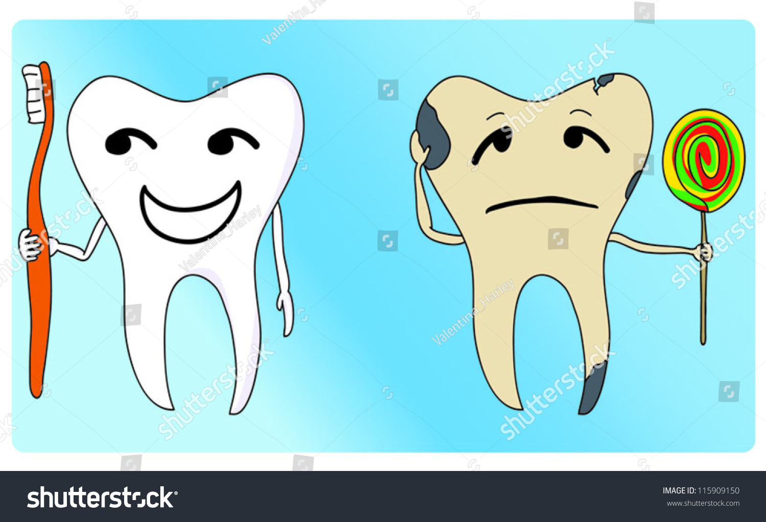 Healthy Unhealthy Tooth Stock Vector 115909150 - Shutterstock