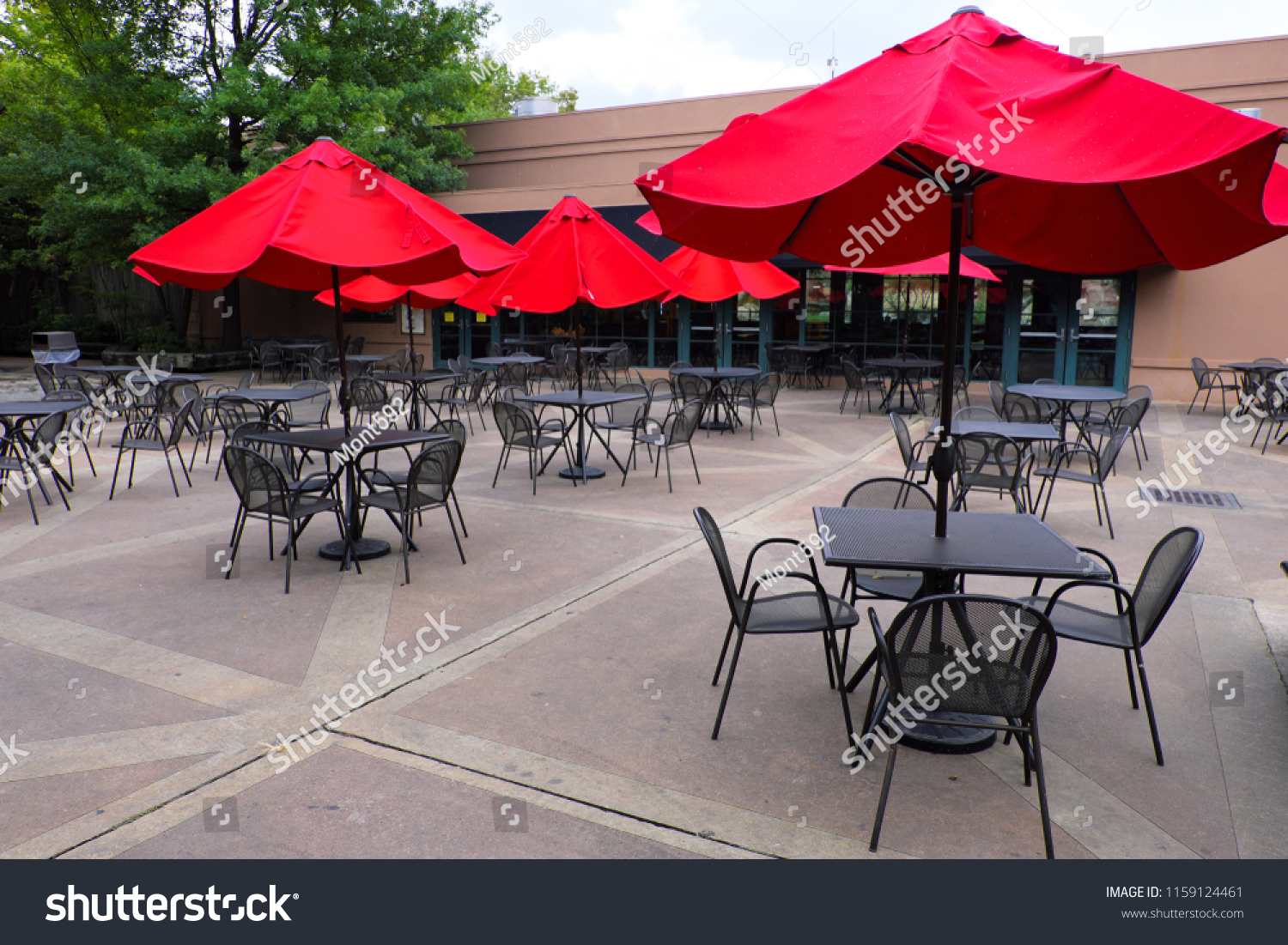 Red Umbrella Black Chairs Tables Outdoor Stock Photo Edit Now 1159124461