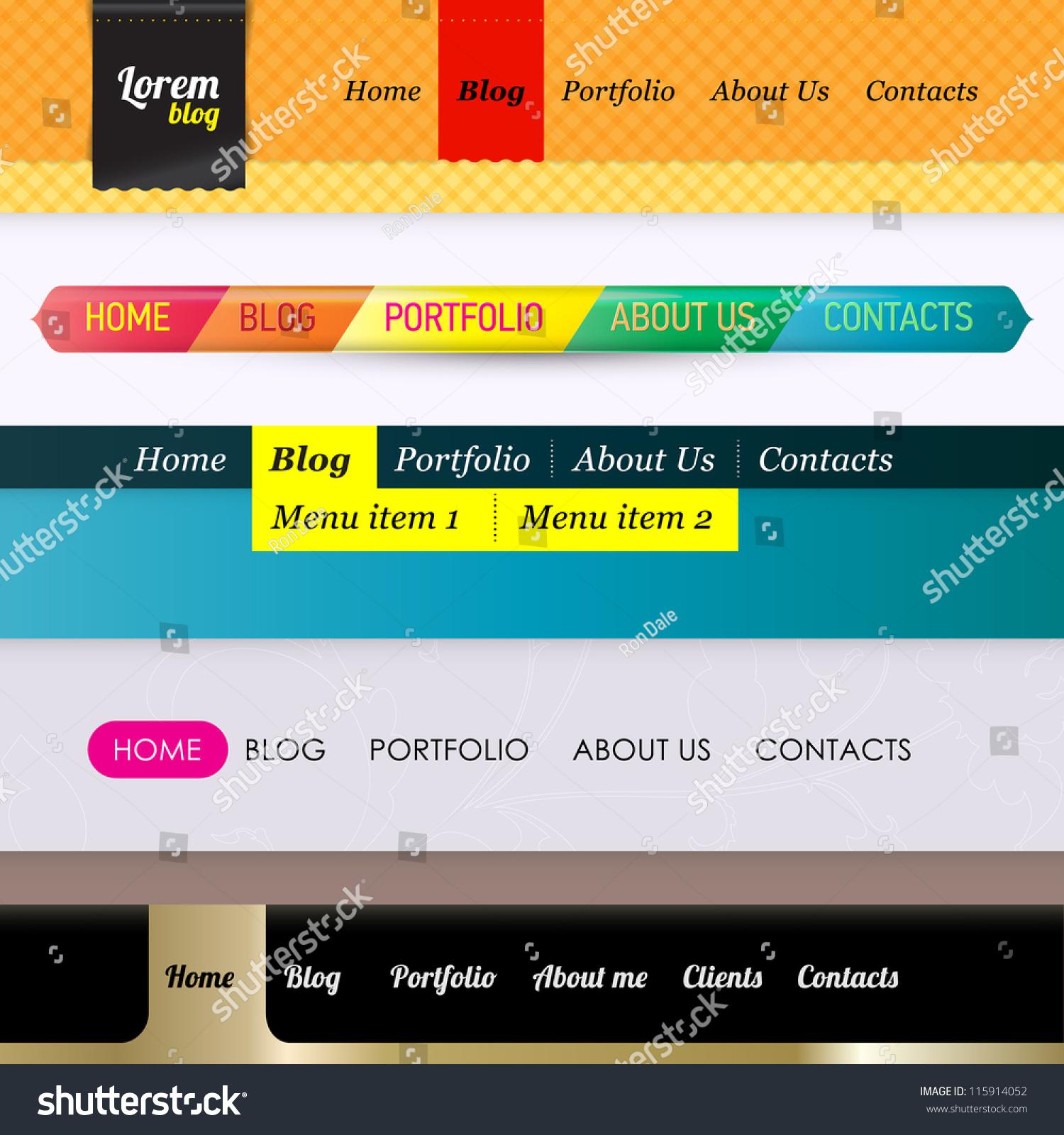 set of 5 horizontal navigation menu bars web design template elements