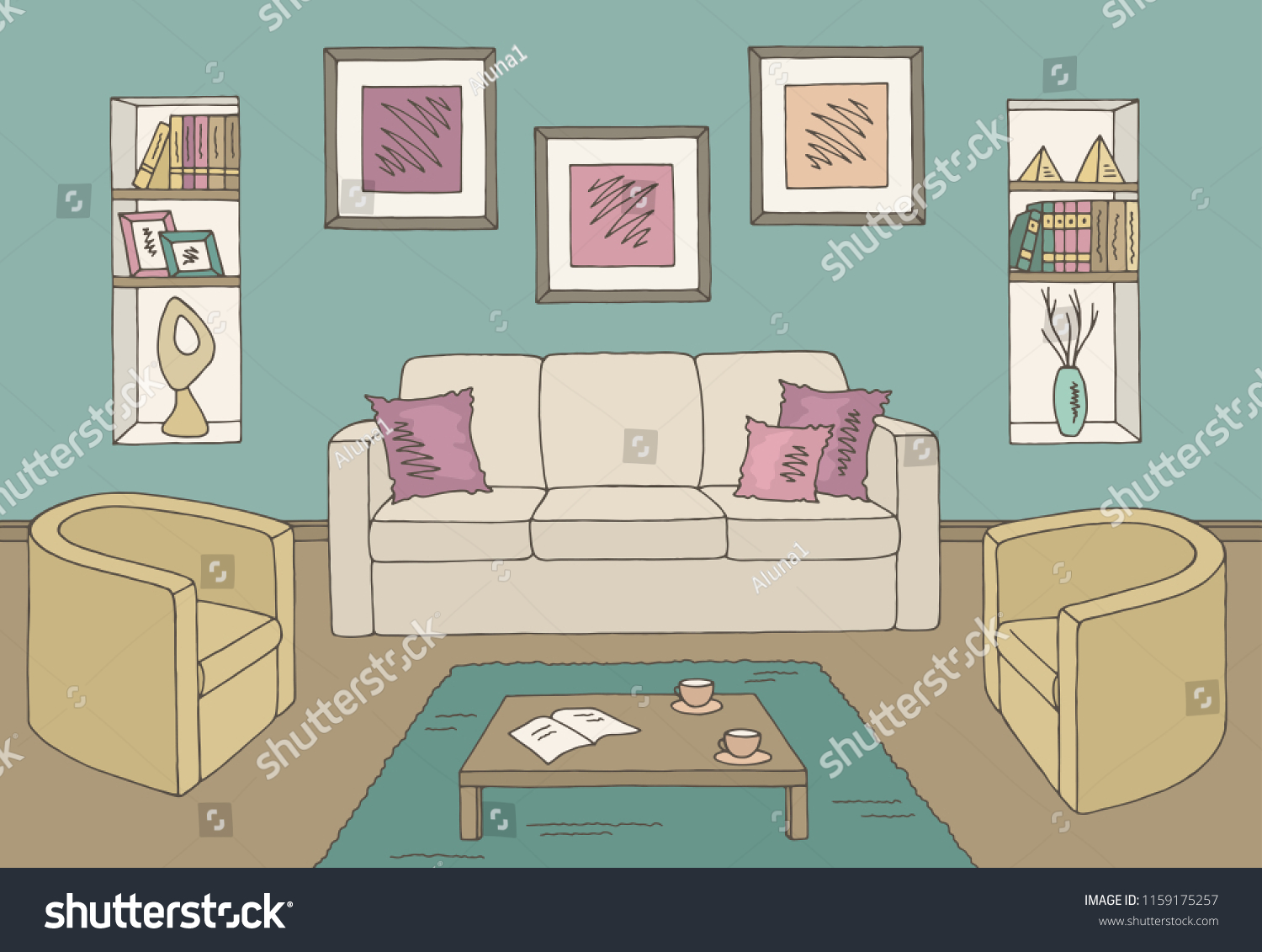 Living Room Graphic Color Home Interior Stock Vector Royalty Free 1159175257