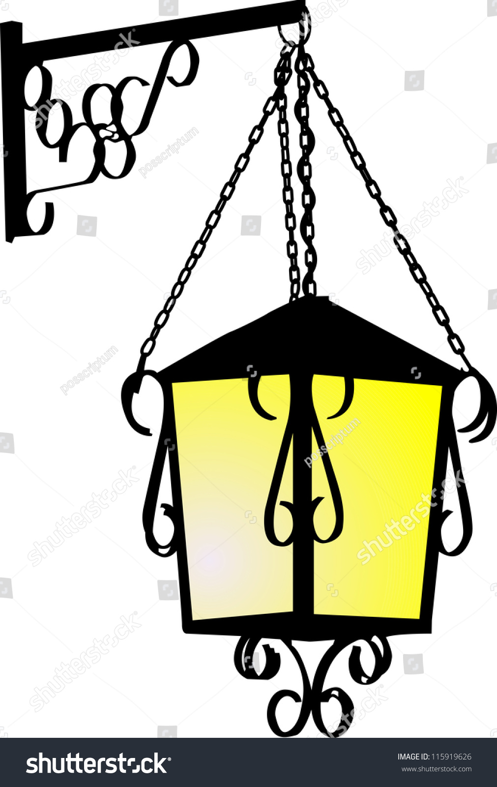 Wall Lamps Vector : Vector Silhouette Of A Street Wall Lamp - 115919626 : Shutterstock