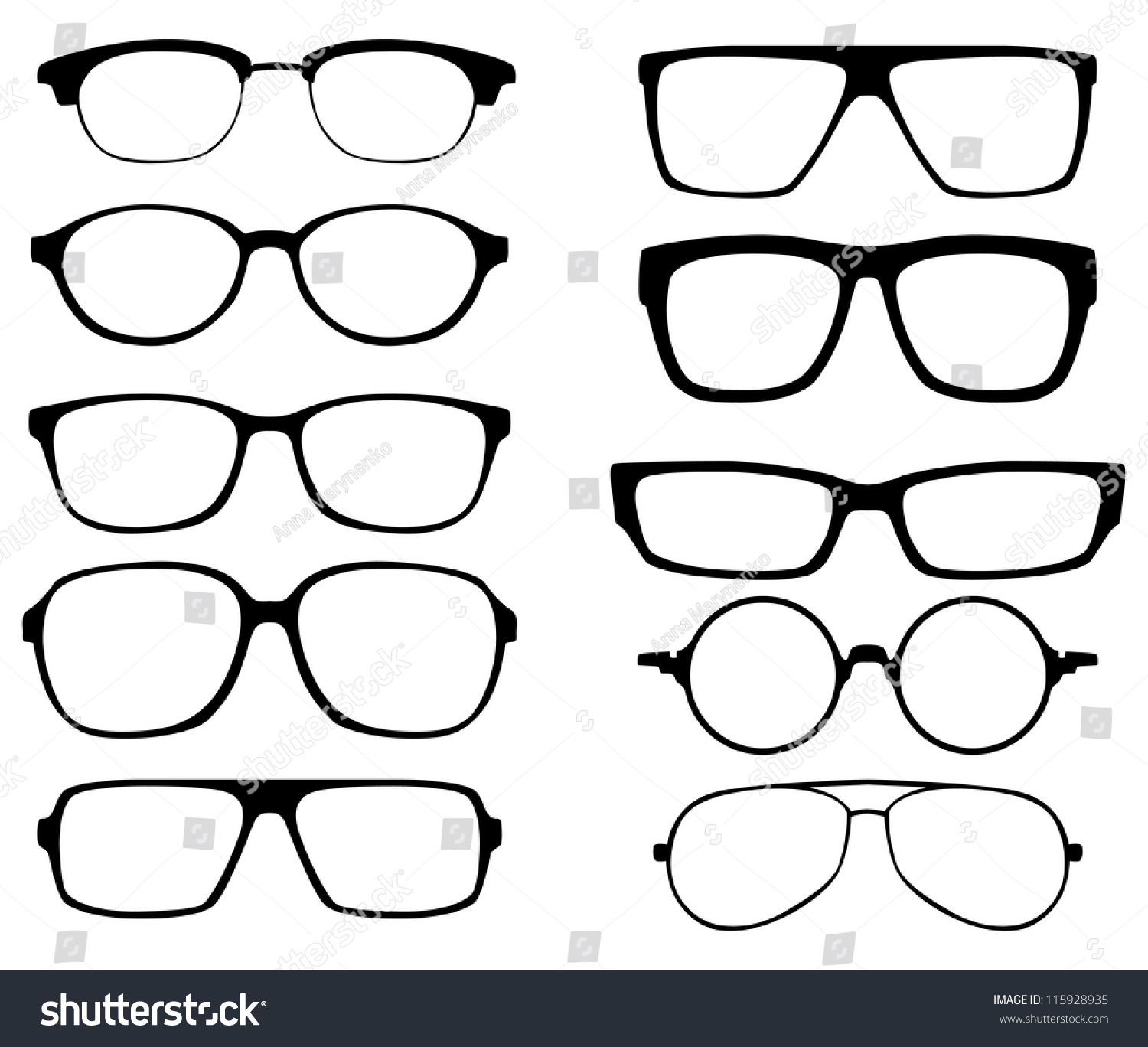 Black Frame Glasses Vector : Glasses Vector Set. Retro, Wayfarer, Aviator Frames ...