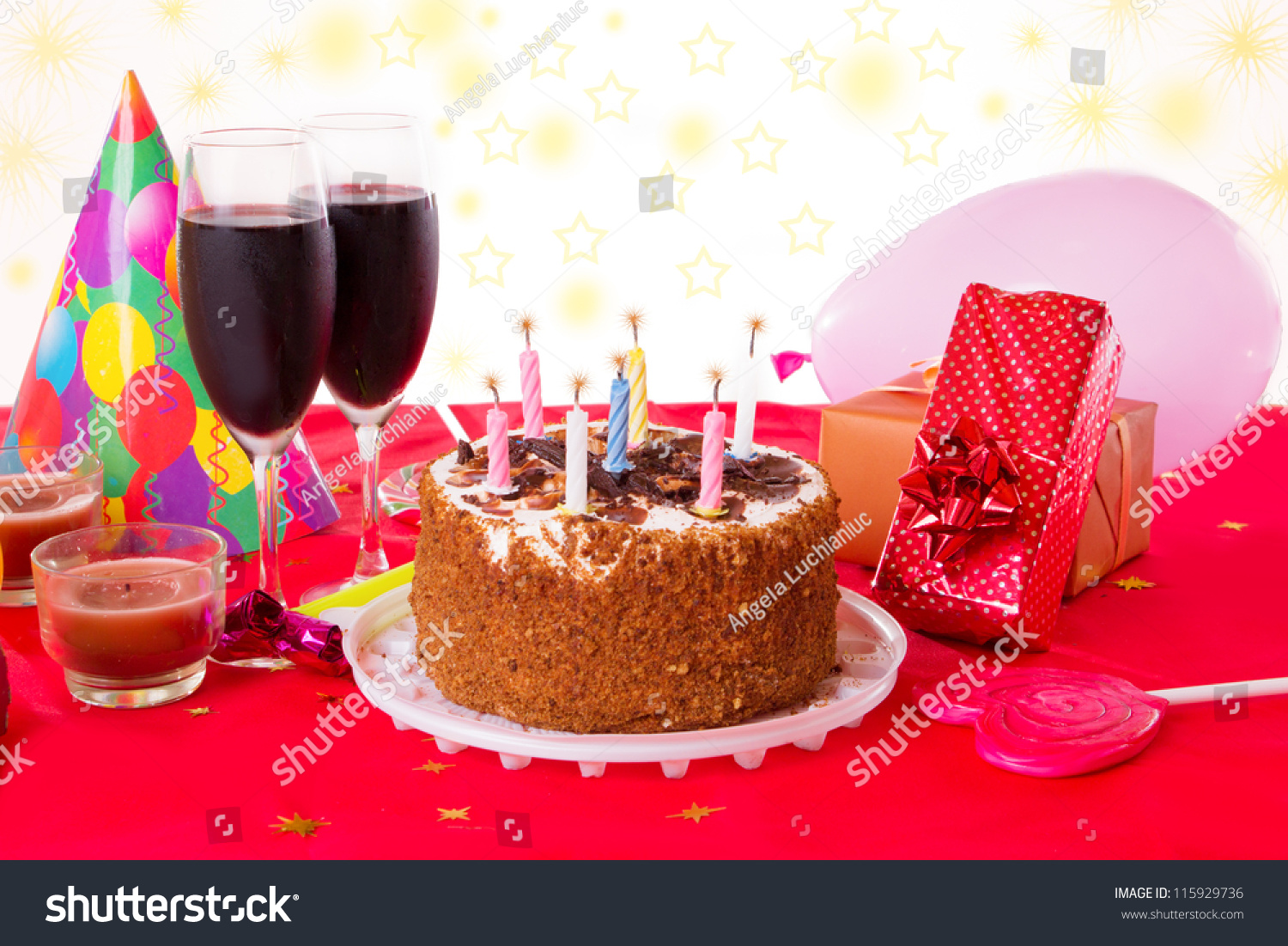 Birthday Table Cake Candles Wine Gifts Stock Photo Edit Now