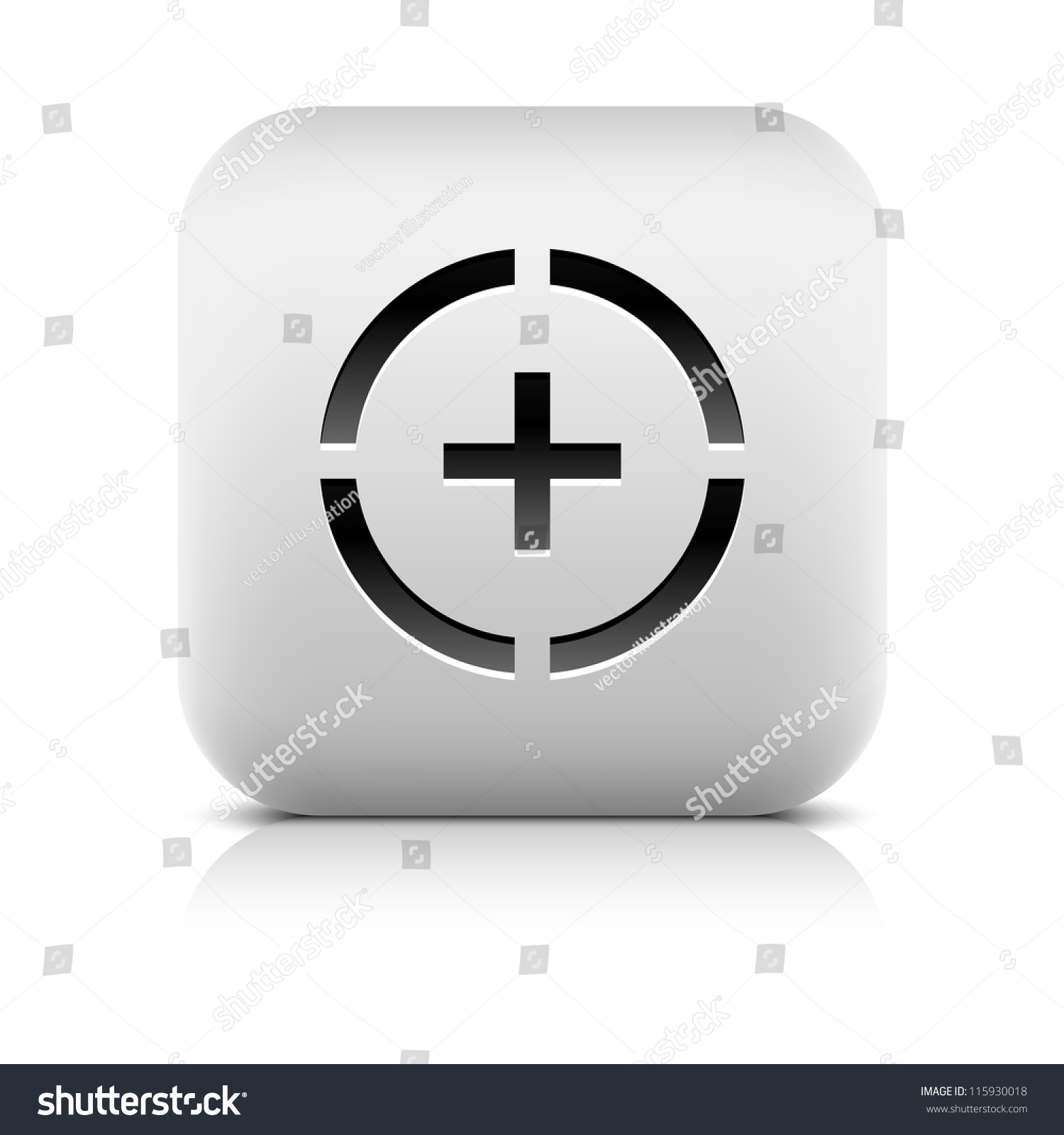 Stone web button plus sign circle stock vector 115930018 stone web button plus sign in circle symbol white rounded square shape icon with black biocorpaavc Choice Image