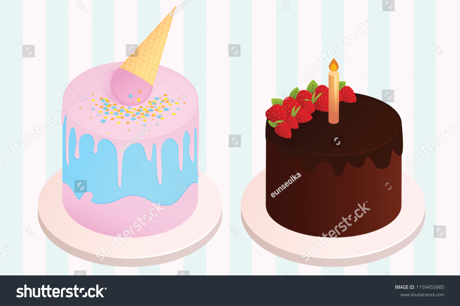 Set Of Birthday Cakes Party Elements Vector Illustration Different Types Beautiful