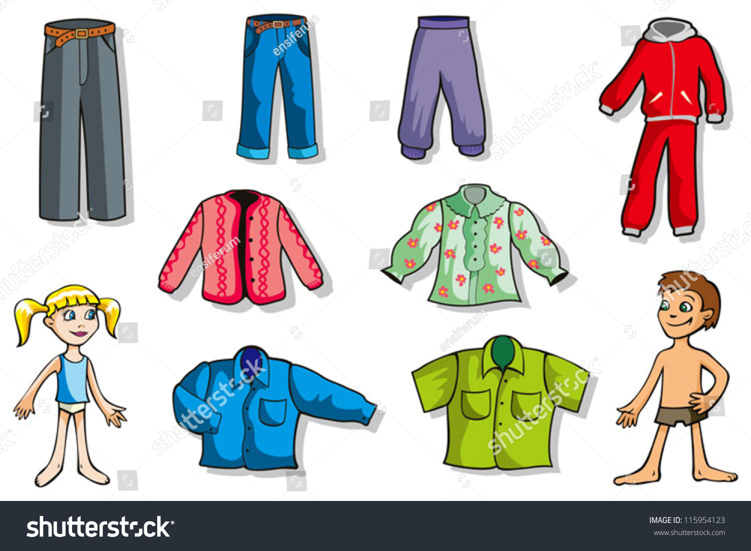 Shirt and pants clipart girls
