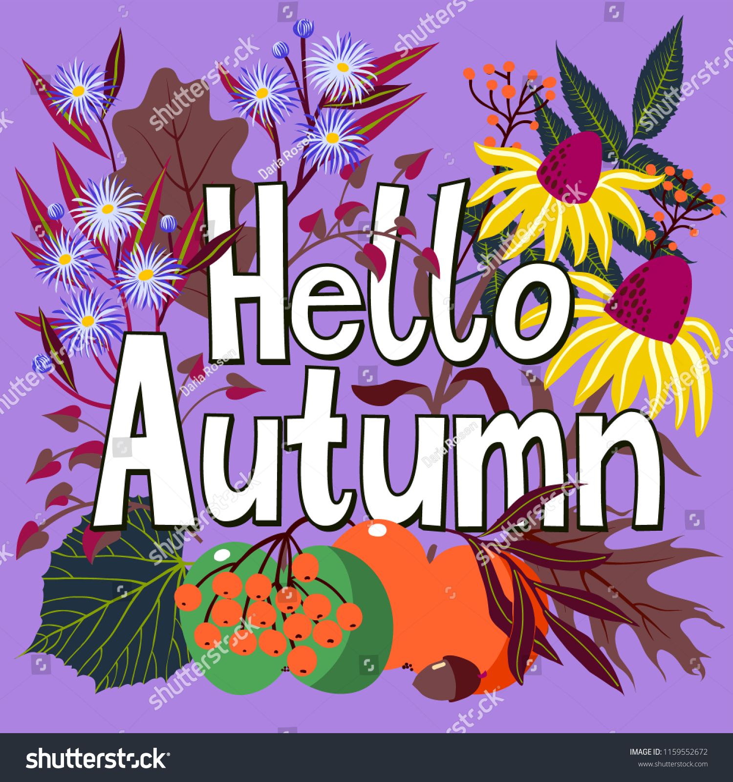 Vector Card Words Hello Autumn Fall Stock Vector Royalty Free