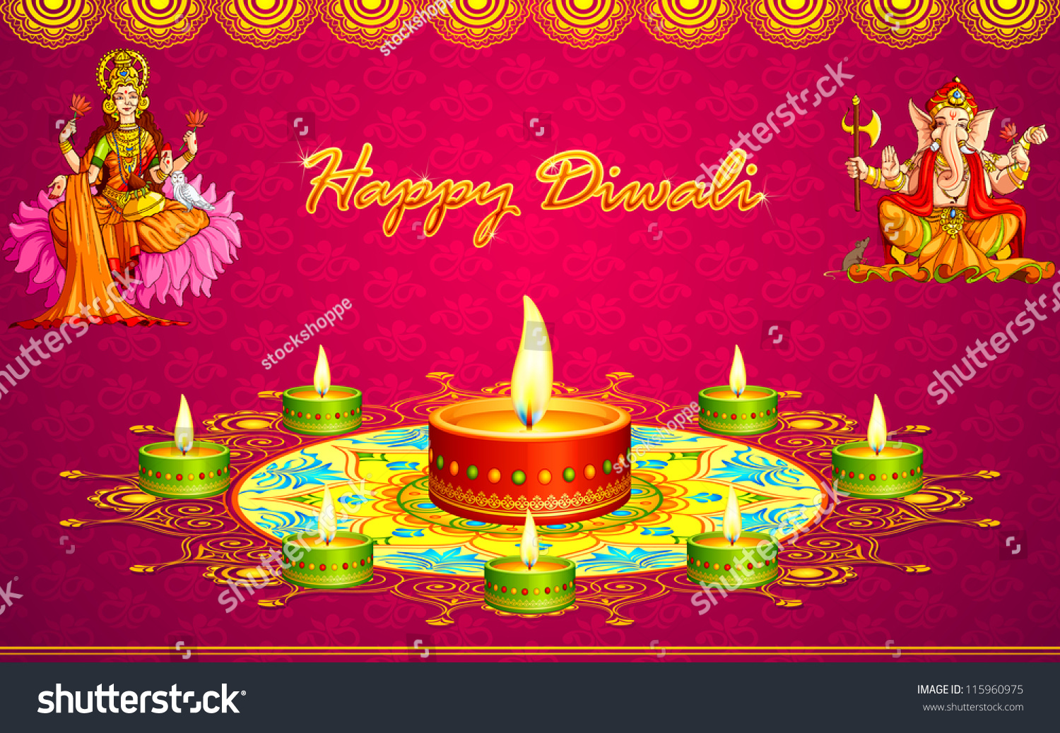 Vector Illustration Diwali Greeting Card Goddess Stock Vector
