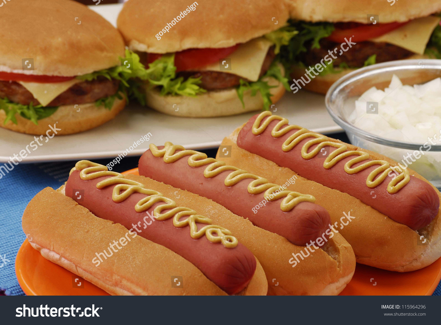 hot dogshamburgers ingredients fast food composition stock photo 115964296 shutterstock. Black Bedroom Furniture Sets. Home Design Ideas