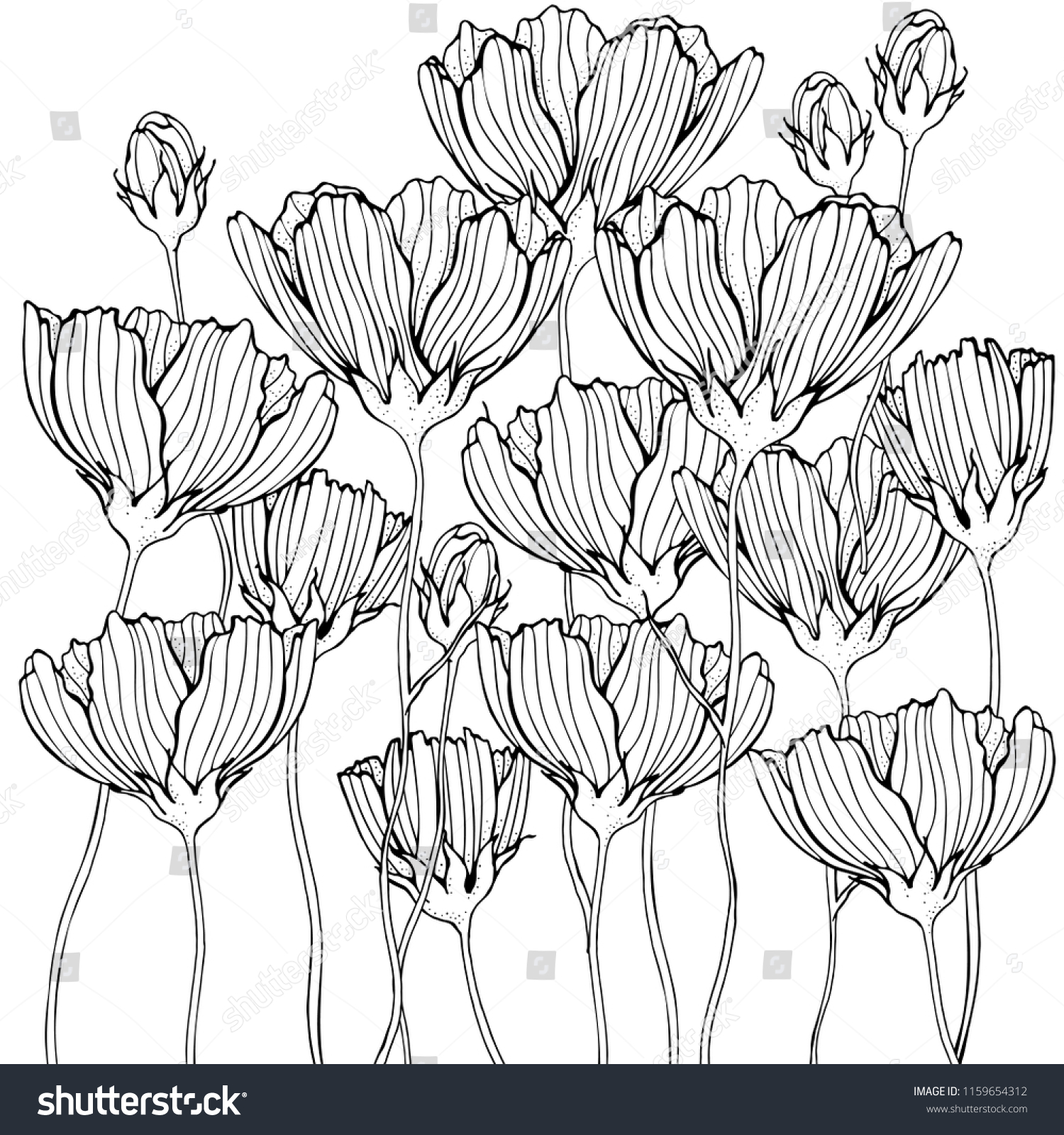 Coloring Book Page Flowers Leaf Black Stock Vector Royalty Free 1159654312