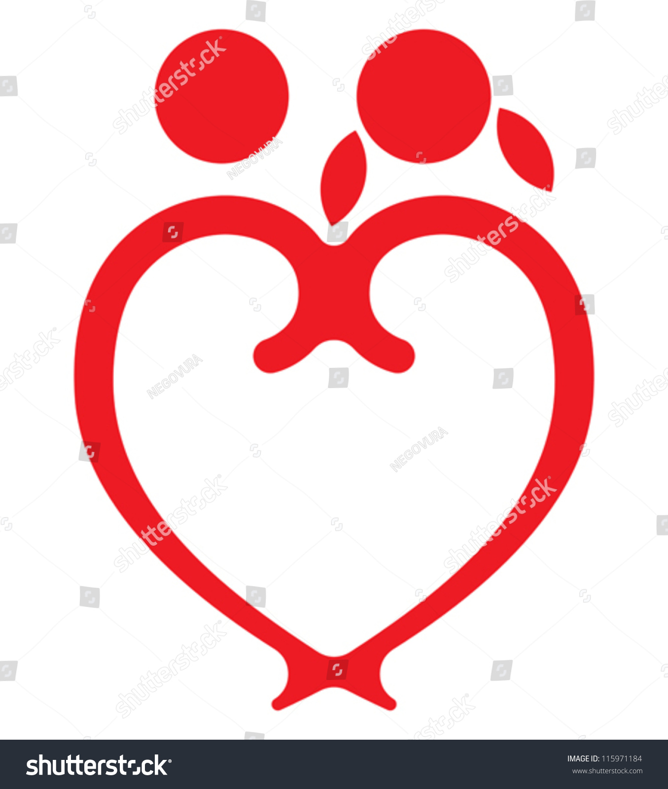 Red Heart Boy Girl Symbol Stock Vector Royalty Free 115971184