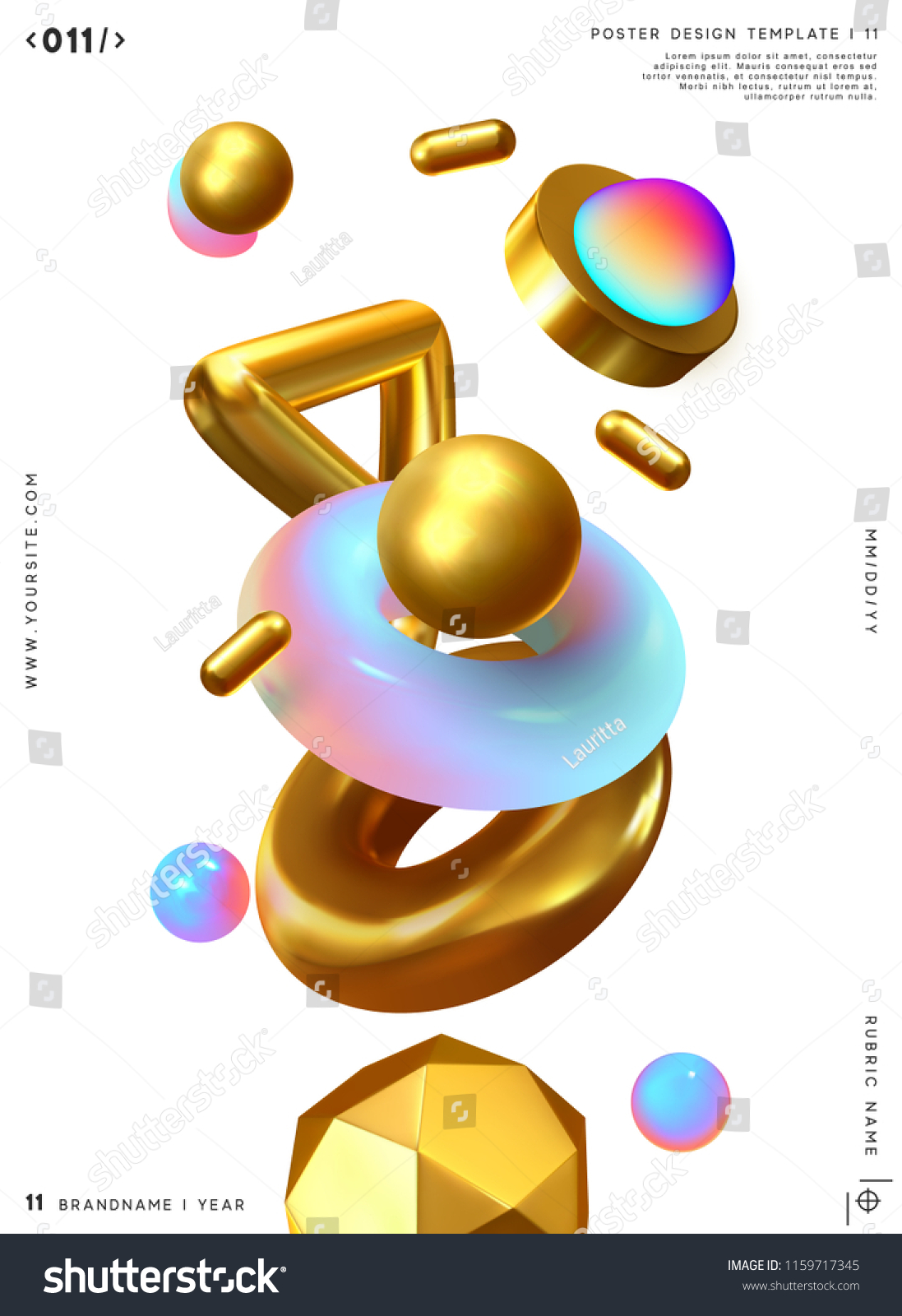 3d shape vector minimal poster. Abstract background with golden geometric elements. #1159717345