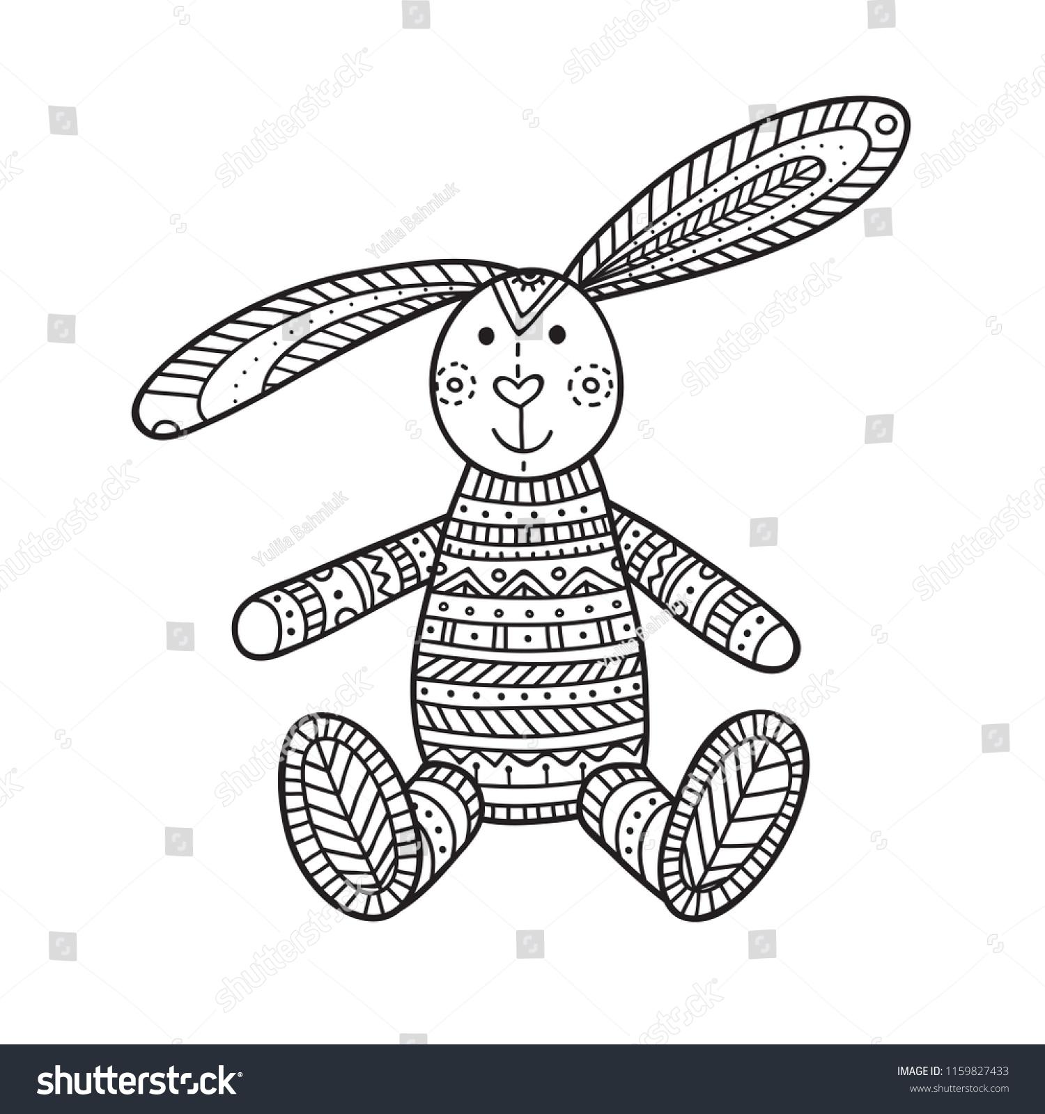 Vector Illustration Handmade Bunny Toy Can Stock Vector (Royalty ...