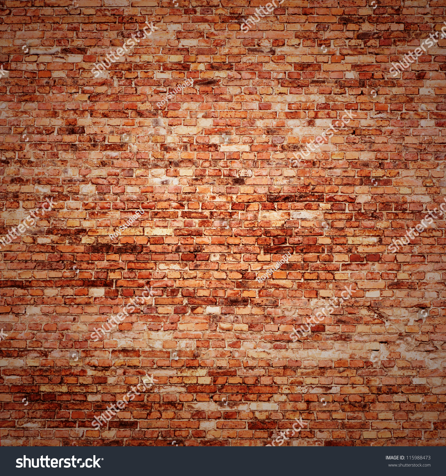 Red Brick Wall Texture Grunge Background Stock