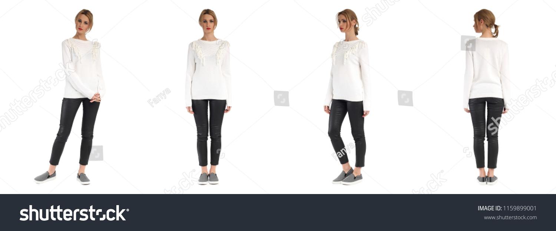 8aa6052ba0 Beautiful Young Blonde Woman Wearing White Stock Photo (Edit Now ...