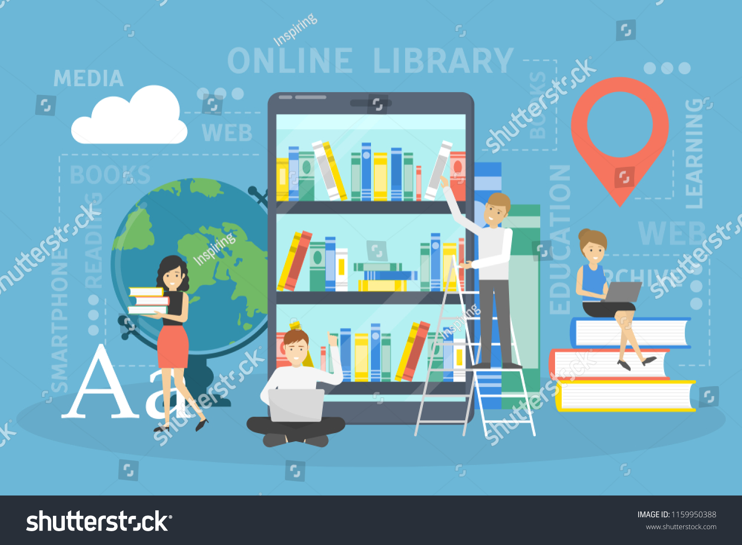 Online Library Concept Using Mobile Phone Stock Vector Royalty Free How To Read Cellphones Schematic Diagrams For Learning And Education People Digital Books