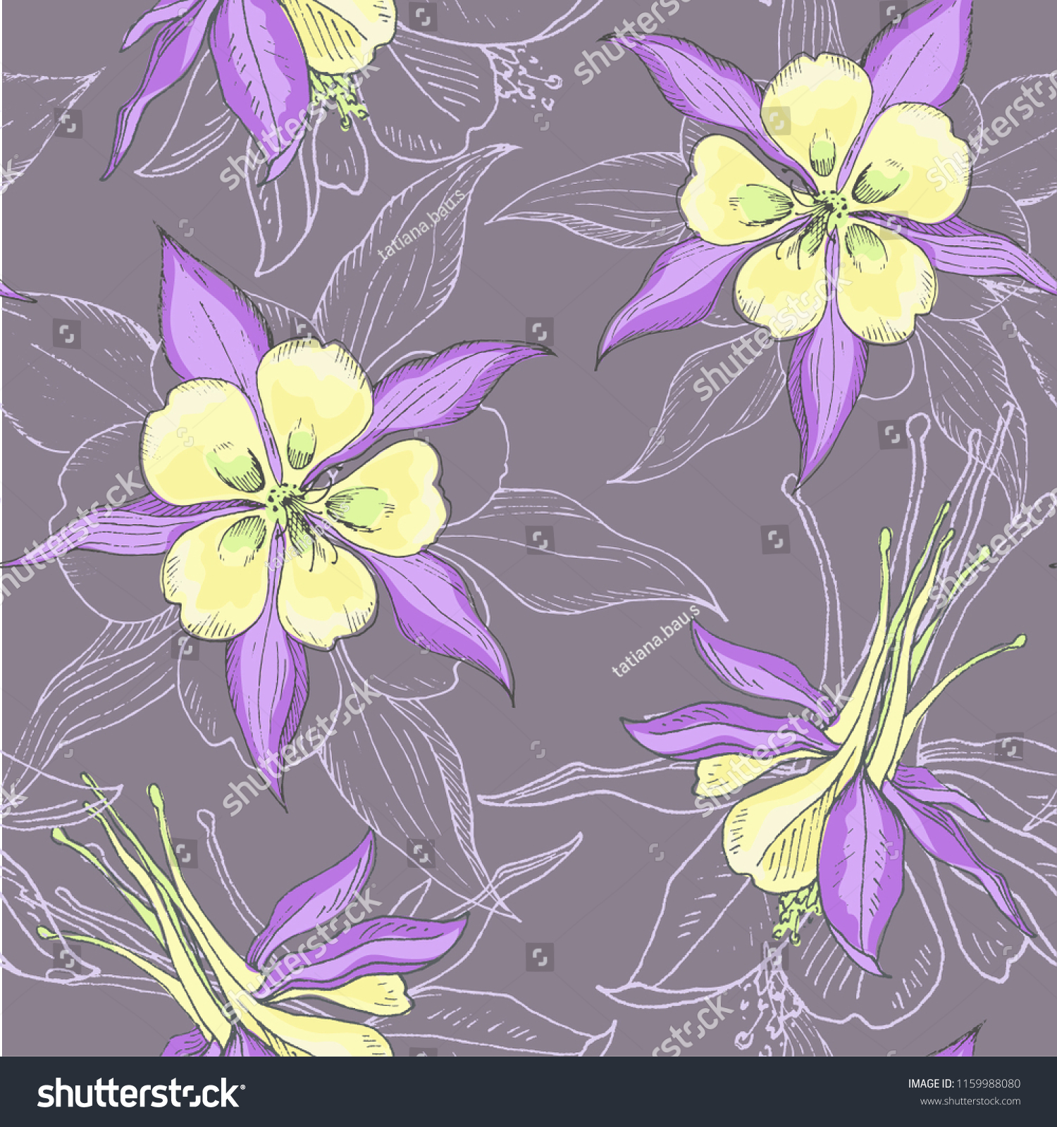 Floral Wallpaper Blooming Delicate Flowers Seamless Stock Image