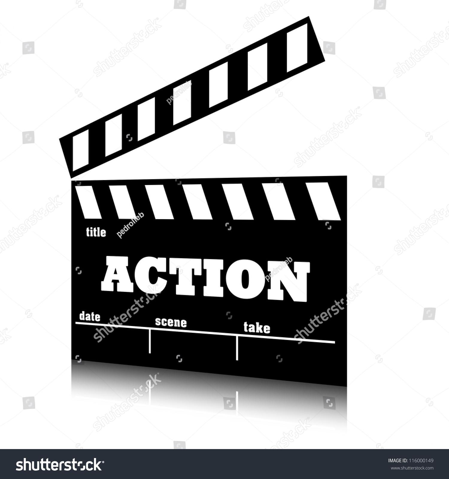 clap film cinema action genre clapperboard stock illustration