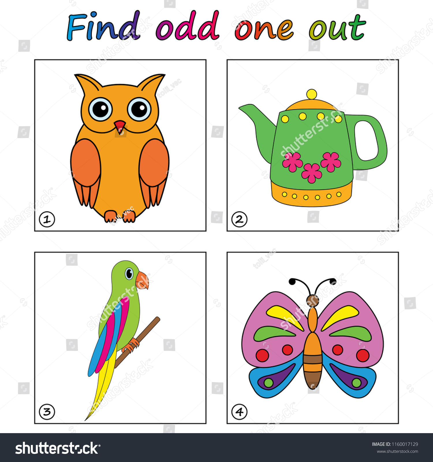 Find Odd One Out Game Kids Stock Vector Royalty Free 1160017129