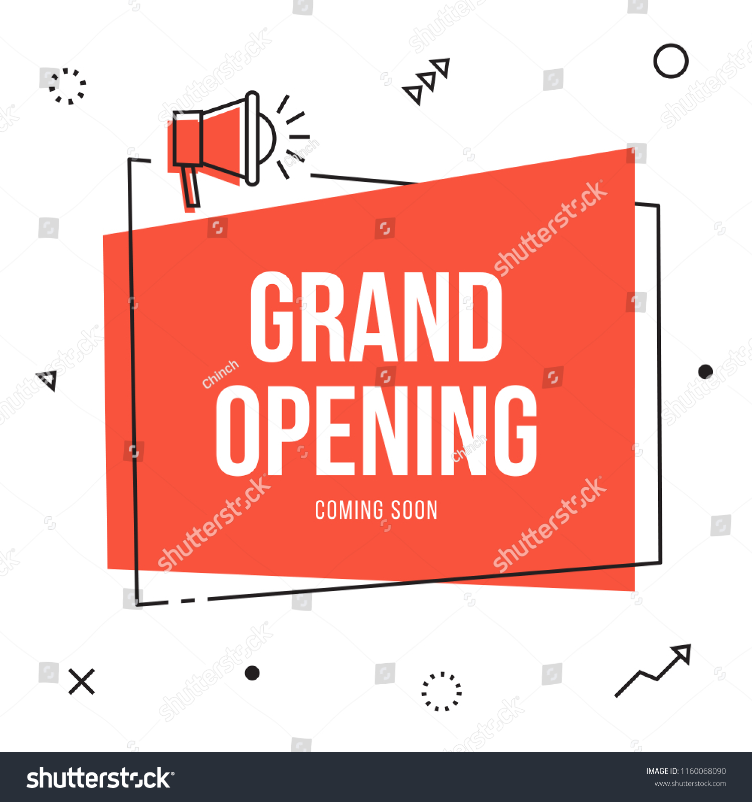 Grand Opening Banner Flyer Template Megaphone Stock Vector Royalty