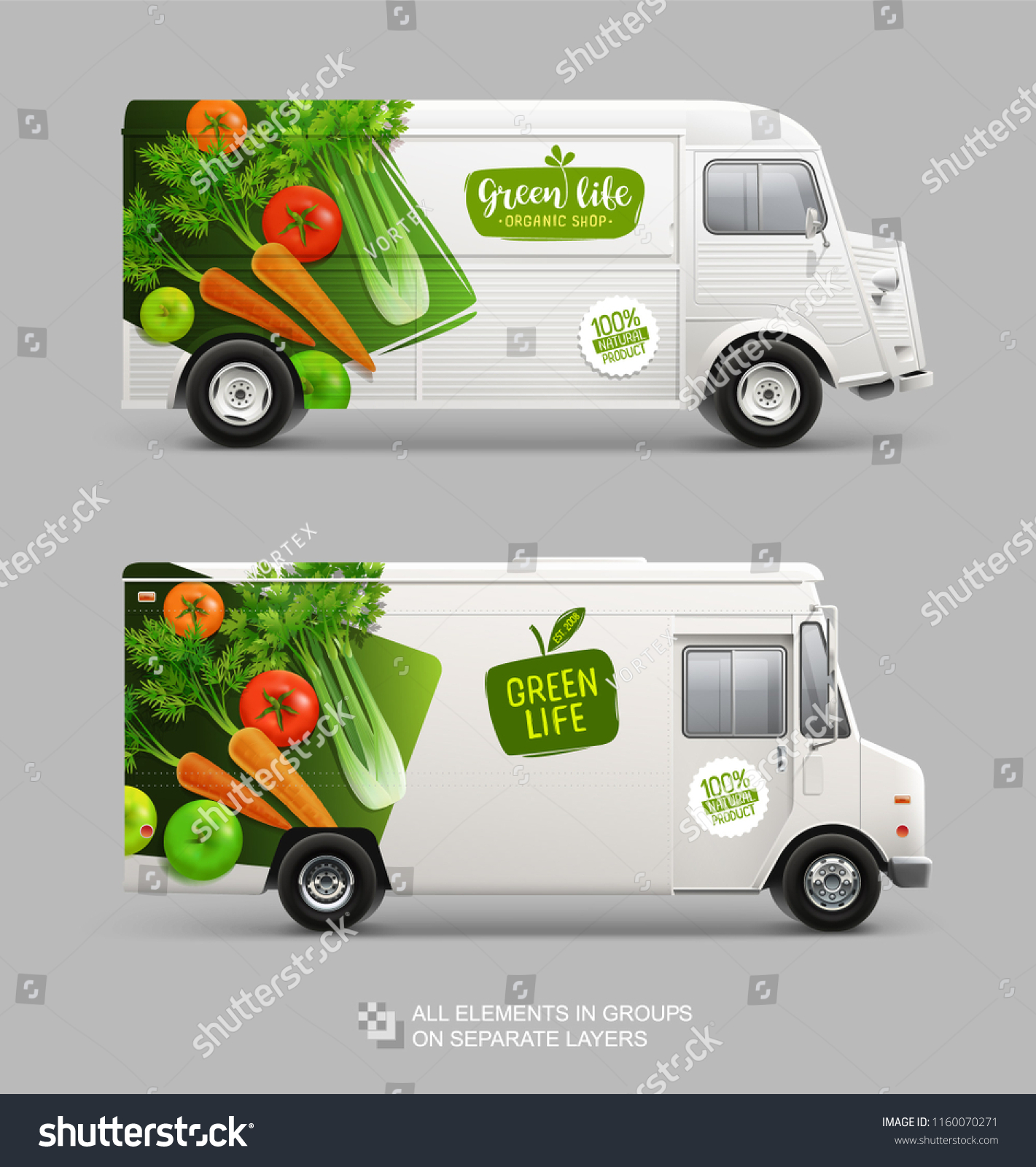 Brand Identity Mockup Set Food Truck Stock Vector Royalty Free