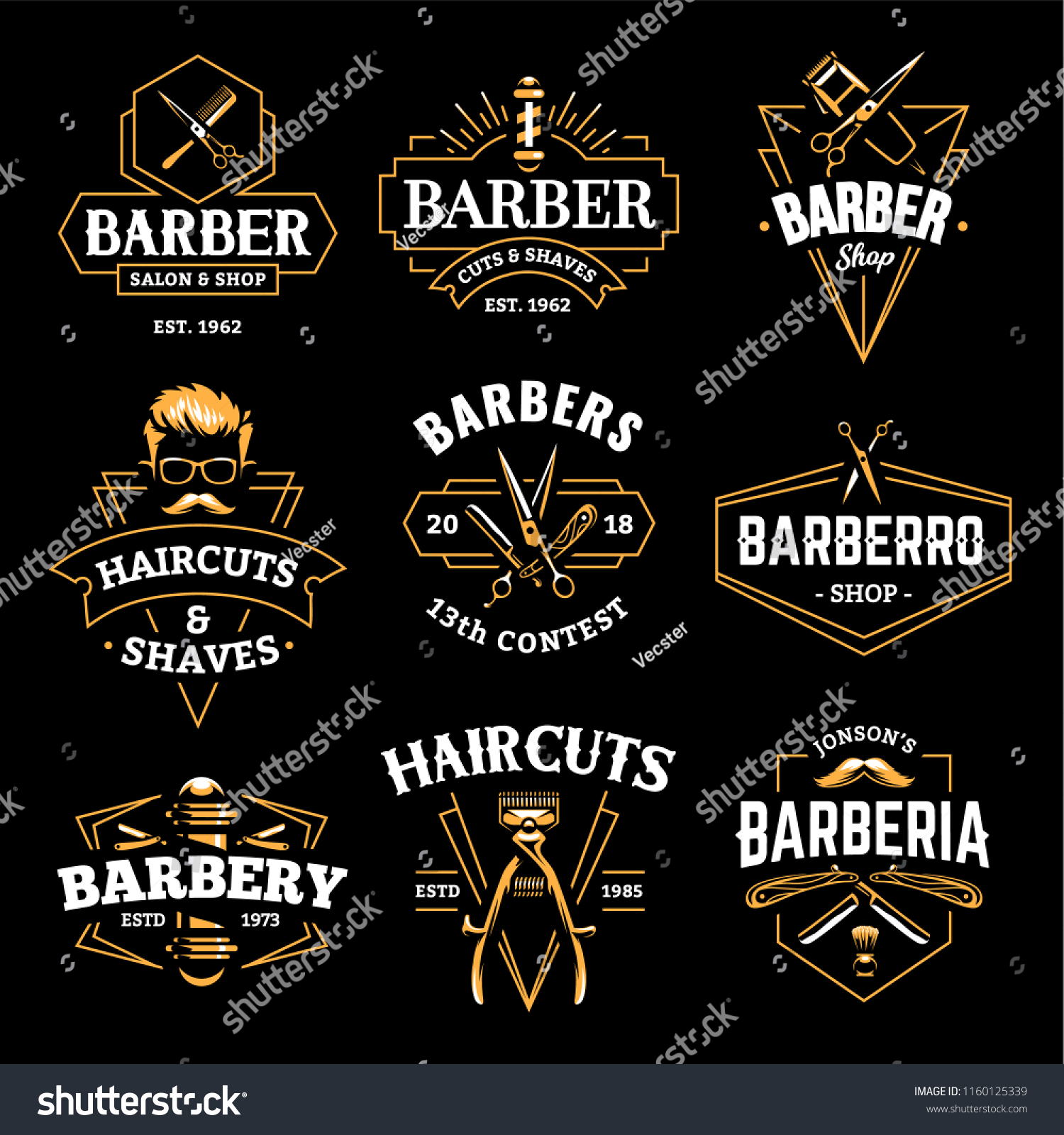 barber shop retro emblems art deco stock vector royalty free