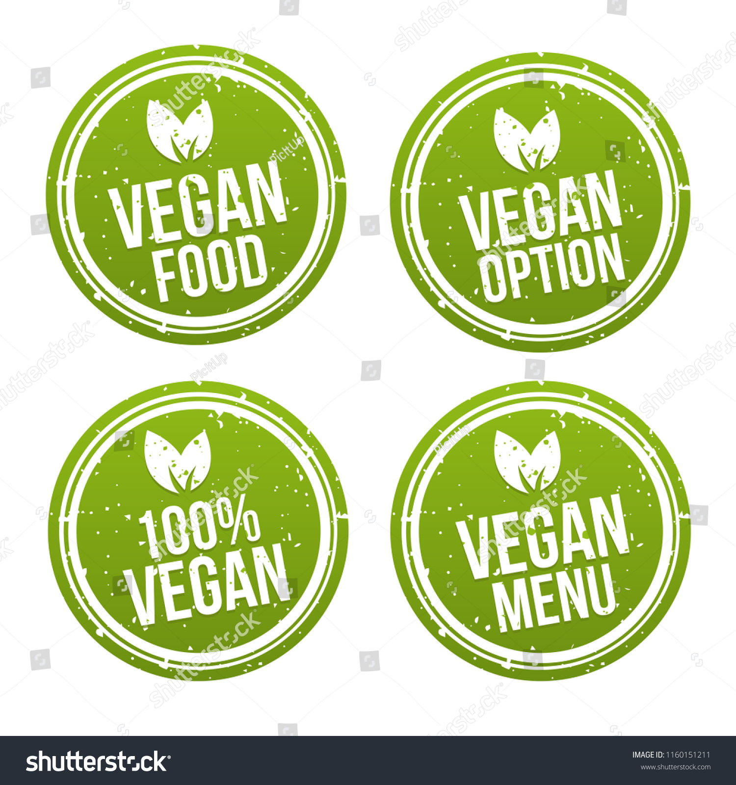 Vegan Buttons Und Vegetarian Banner Set Stock Vector Royalty Free 1160151211