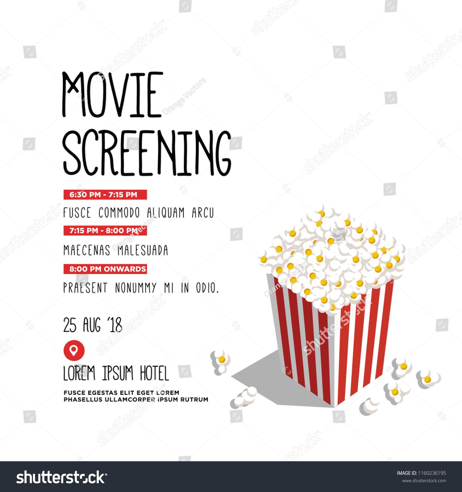 film festival vector invite illustration popcorn stock vector