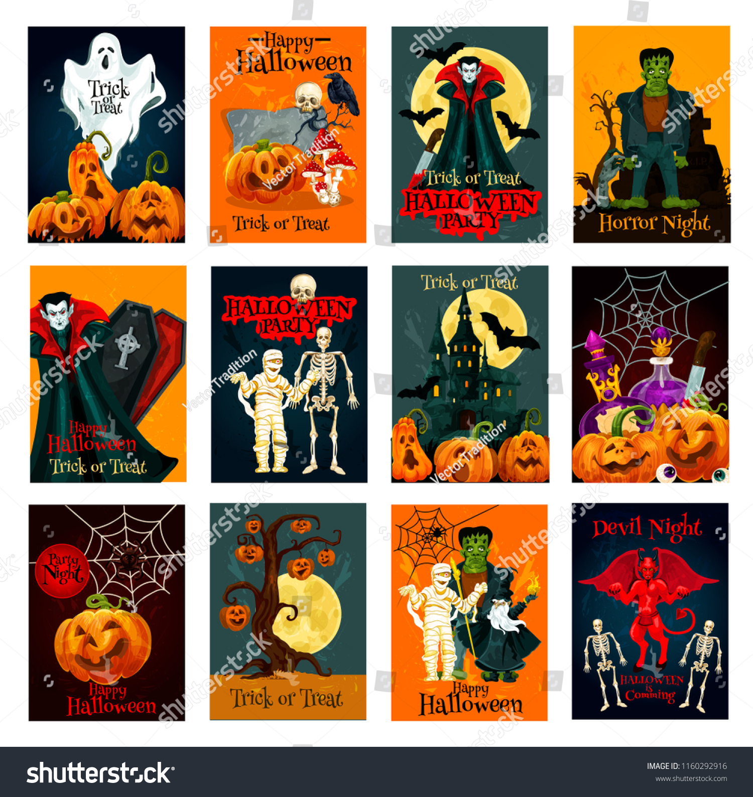 halloween holiday trick treat greeting card image vectorielle de